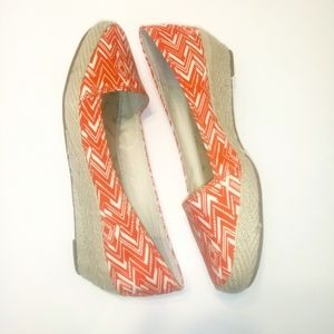 Lucky Brand orange and white wedge heel